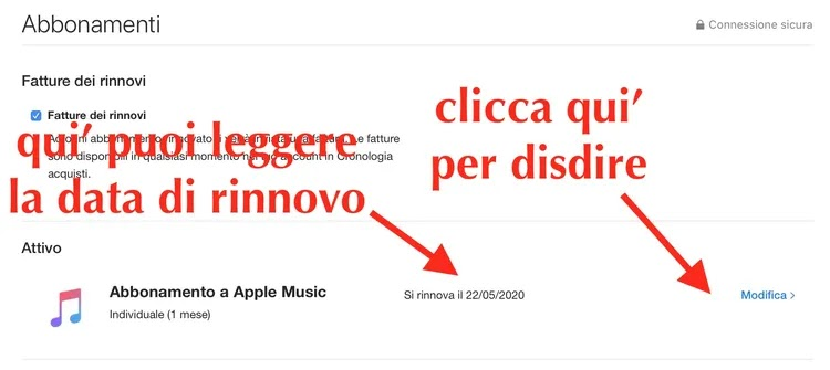 data di rinnovo apple music e come disdire su mac tramite app musica