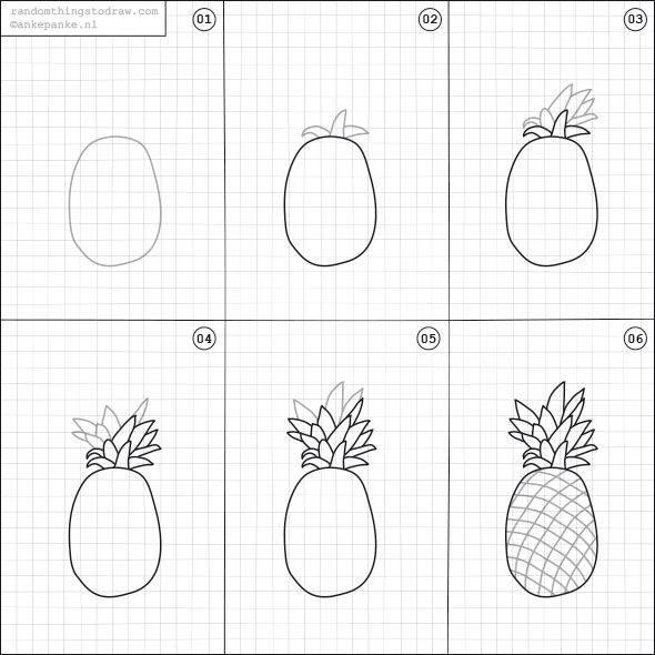 Cara Mudah Menggambar Buah Nanas Untuk Anak-Anak