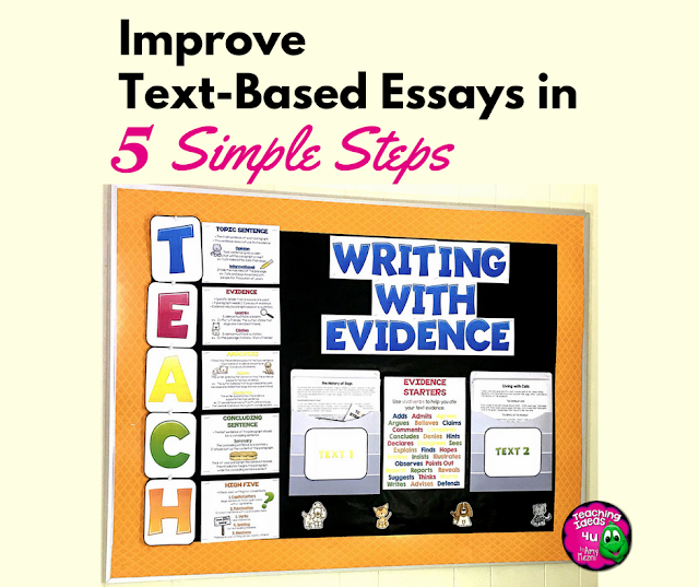 Learn how to use the TEACH strategy to improve Text-Based Essays.  A free Outlining resource is included in the post.