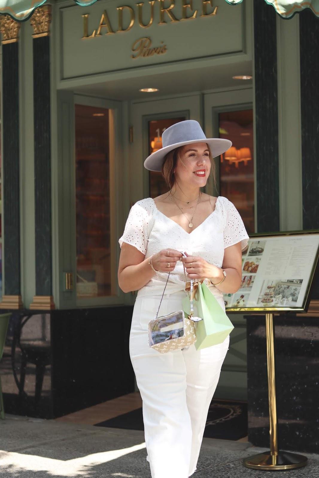 All white outfit idea le chateau cotton top vancouver laduree blogger heirloom hat louis vuitton beach bag aleesha harris