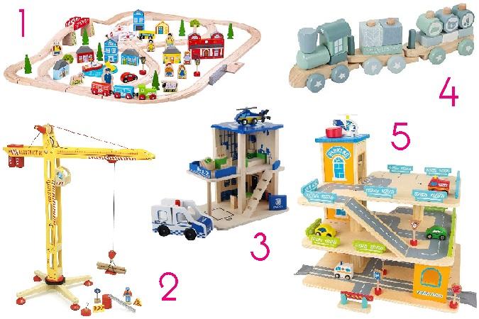 Construcciones y vehículos de madera para niños