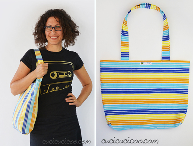 Learn how to easily make a shopping tote with French seams. Tutorial by Cucicucicoo