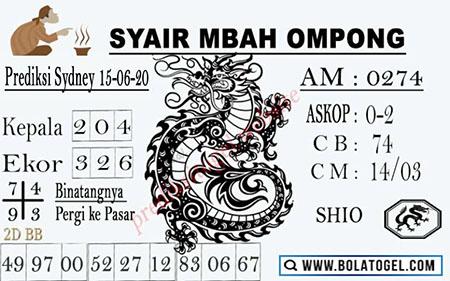 Prediksi Sydney Senin 15 Juni 2020 - Syair Mbah Ompong
