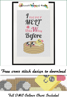 Kawaii Pancake Cross Stitch Pattern with a Pun