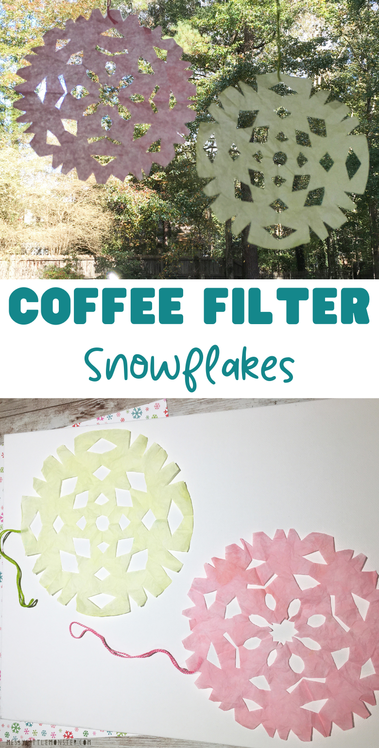 Coffee filter snowflakes craft for kids. Made with homemade skittles paint.