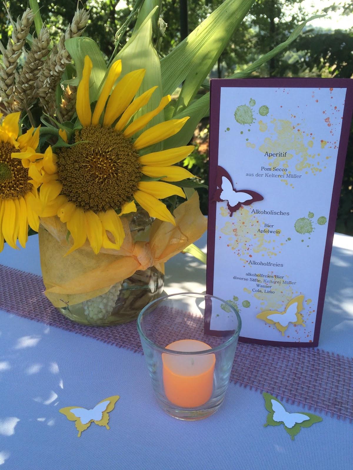 Willkommen in Tanja´s Kreativwerkstatt: Sonnenblumen, Maiskolben ... - Einladungskarte Sonnenblume