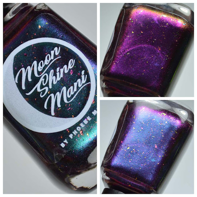 blue to purple multichrome nail polish in a bottle