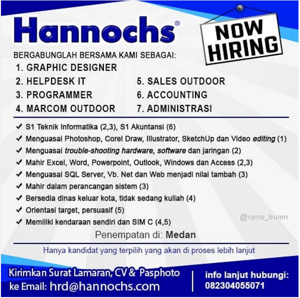 Lowongan Kerja Hannochs Indonesia Maret 2019