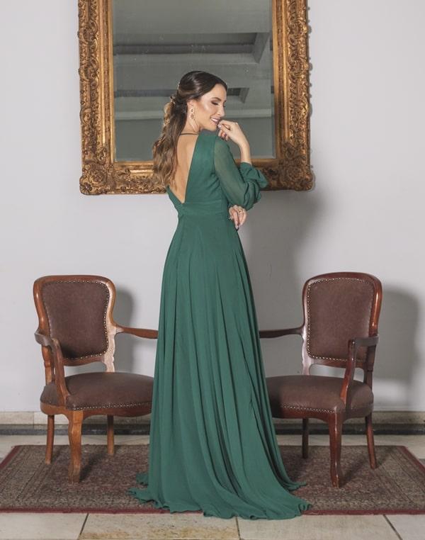vestido  longo verde de manga longa