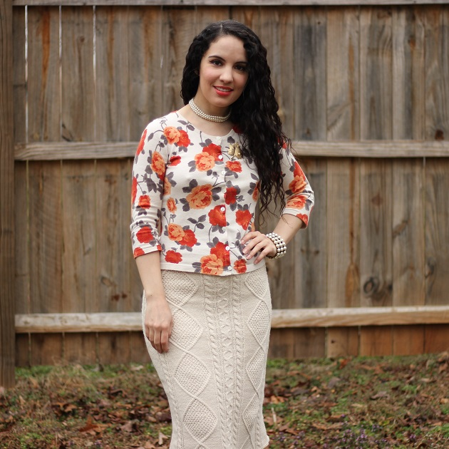 Orange Floral Sweater