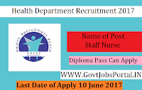 Health Department Recruitment 2017–Staff Nurse, Lab Technician