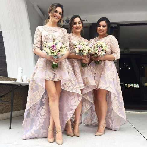 Half Sleeves Lace High Front Low Back Bridesmaid Dresses 2017 Cheap Wedding Party Dress-Factory price: US$ 126