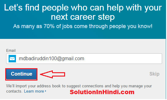 linkedin account create ke liye continue kare
