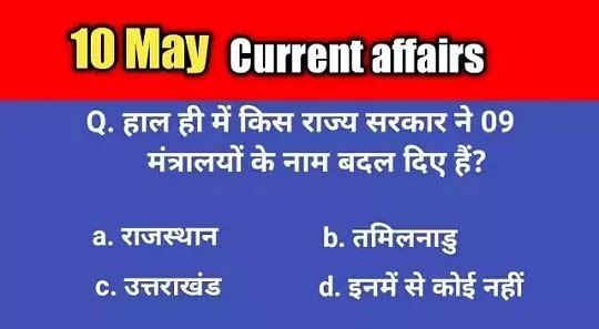 10 May 2021 current affairs : current affairs today in hindi - daily current affairs in hindi