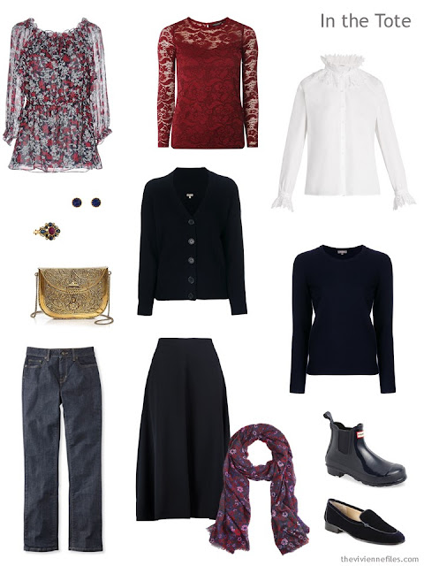 travel capsule wardrobe in navy and burgundy