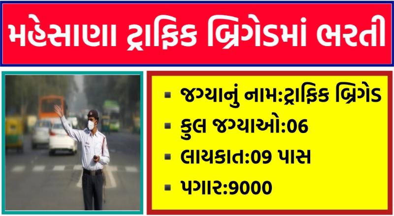 Mahesana Traffic Brigade Recruitment 2021,Mahesana traffic police recruitment 2021,mahesana police jobs,mahesana traffic police,mahesana police bharti 2021