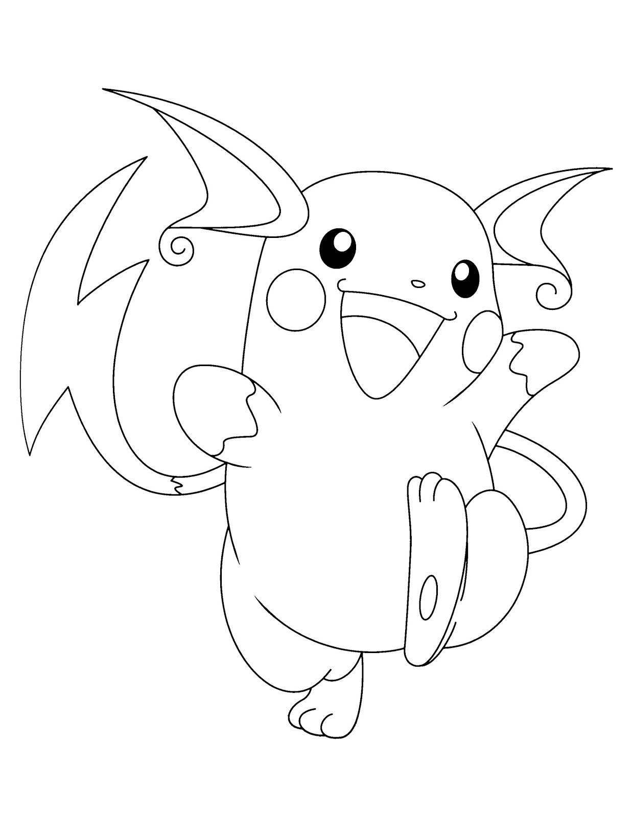 Raichu Pokemon Coloring Pages : raichu, pokemon, coloring, pages, Pokemon, Raichu, Coloring, Pages, Printable