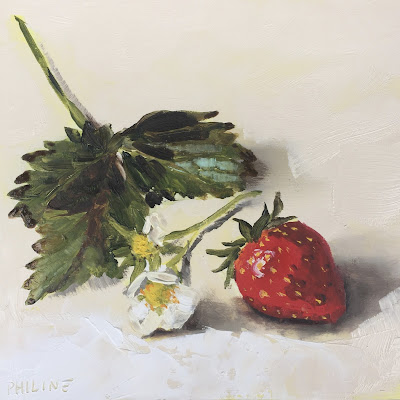 Strawberry still life, oil on panel 15x15cm, daily painting  by Philine van der Vegte