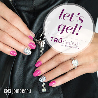 #FlamingoJN with Metro nail wrap accent TruShine Gel at home gel system by Noel Giger, Jamberry Independent Consultant