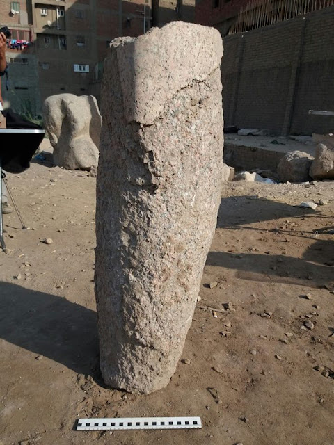 Parts of Pharaoh Psamtik I colossus statue recovered in Cairo