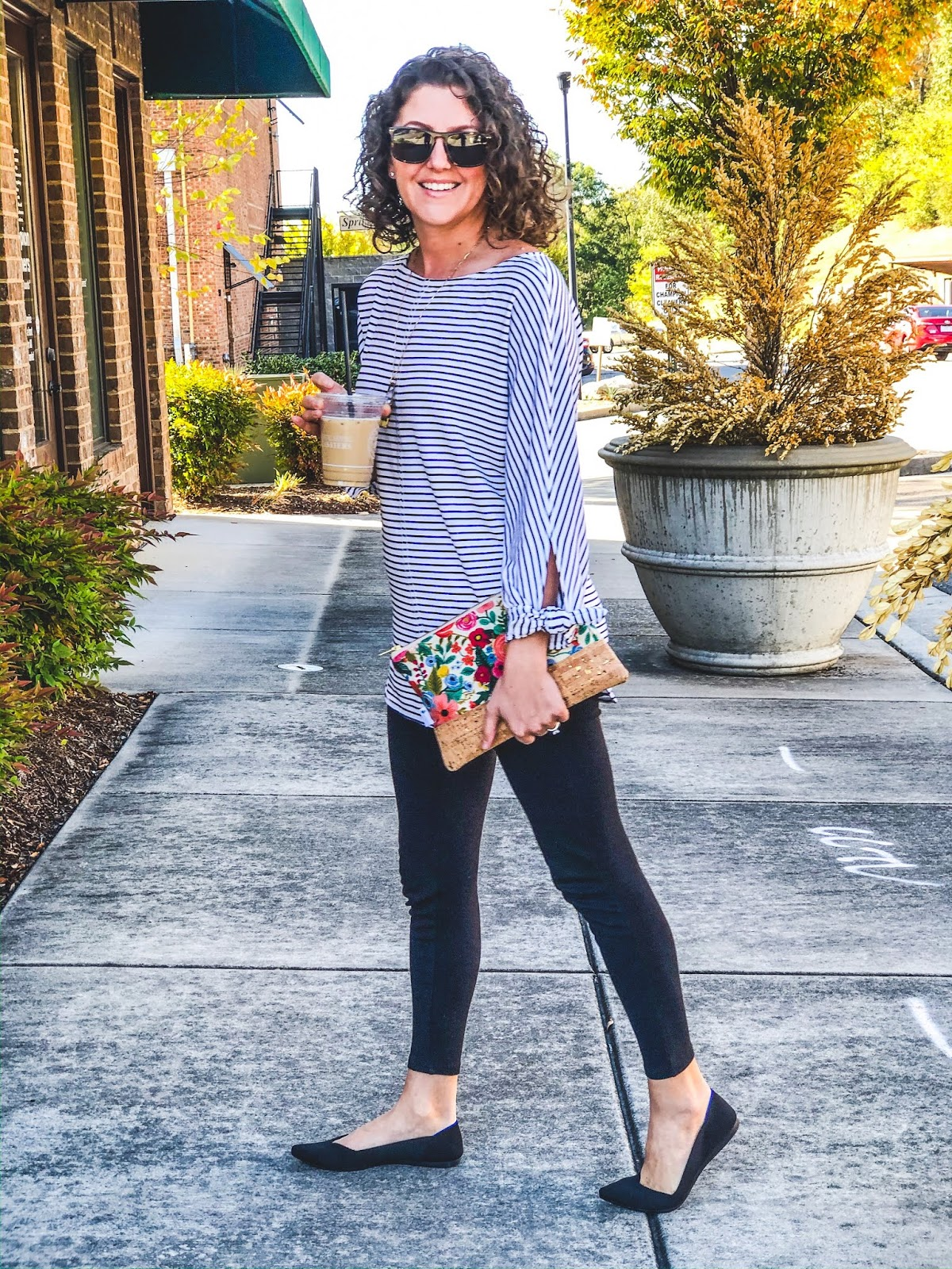 Jord sunglasses, Daisy Faye Designs floral clutch, striped tunic, black leggings, roadkill gems necklace, oils necklace, fall outfit, winter outfit, shaw avenue, jenn pennell, lee university