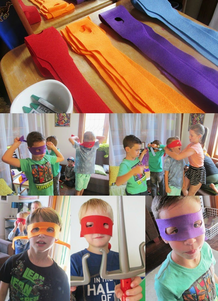 TMNT Party favors: easy DIY felt Ninja turtle masks to take home