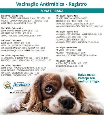 Vacinação Antirrábica começa quarta, 22/08, na zona urbana de Registro-SP