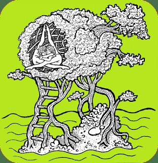 Obrázek ostrůvku, ze kterého vyrůstají obří bonsaje srůstající v živé hnízdečko hadích kluků (contortionists). Wesmírodivný samorostismus. Autor obrázku: Sebastián Wortys