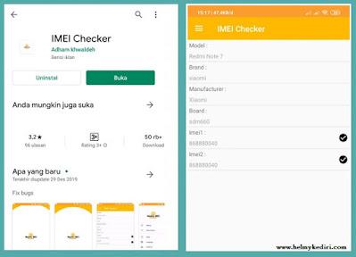 Cek IMEI Menggunakan Aplikasi