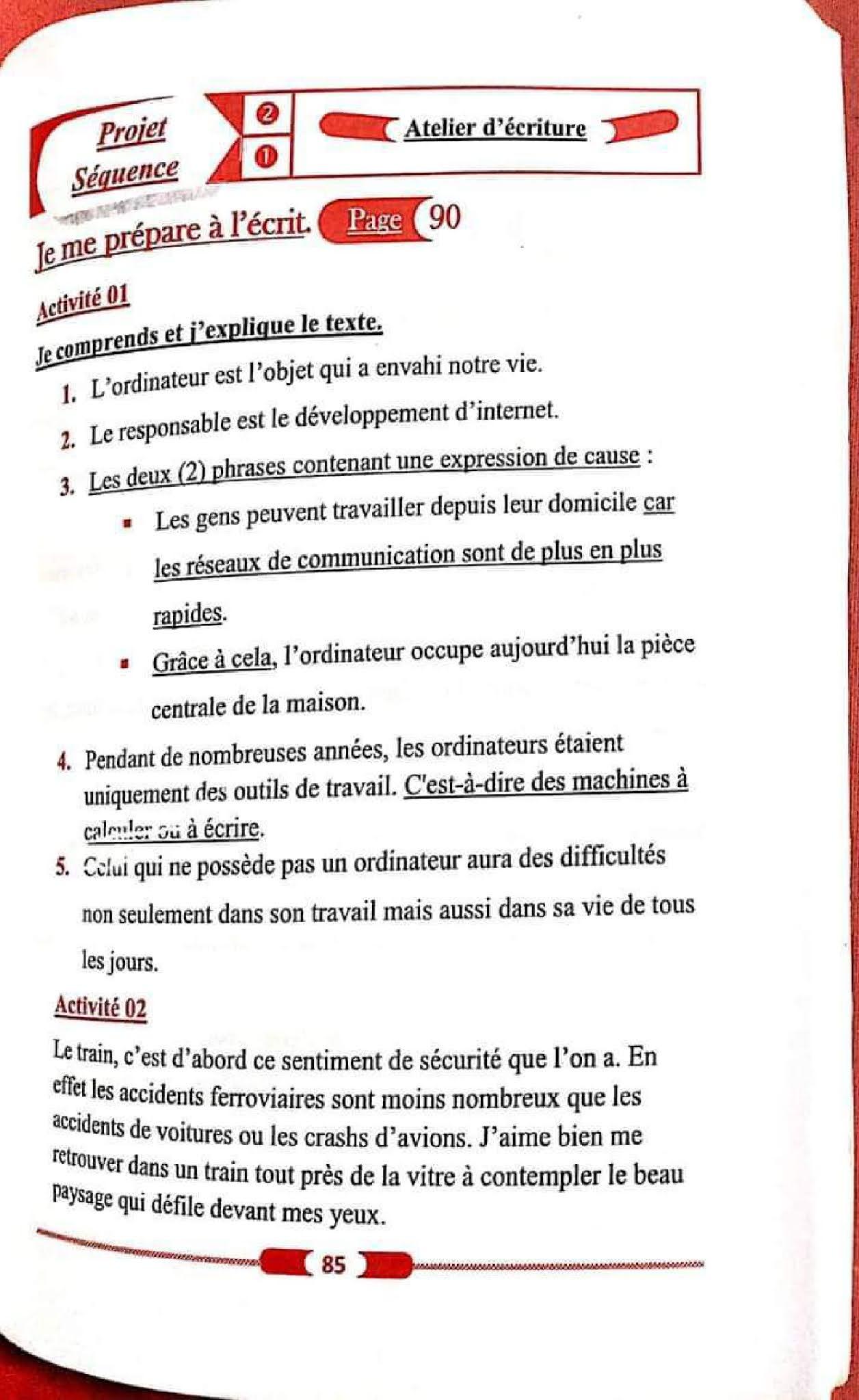 حل تمارين صفحة 90 الفرنسية للسنة الأولى متوسط الجيل الثاني