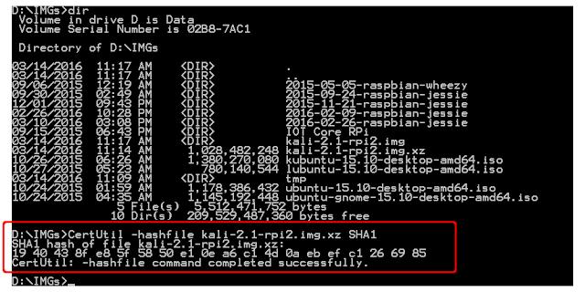 Calculate Sha1 Checksum Using Certutil Inward Windows 10