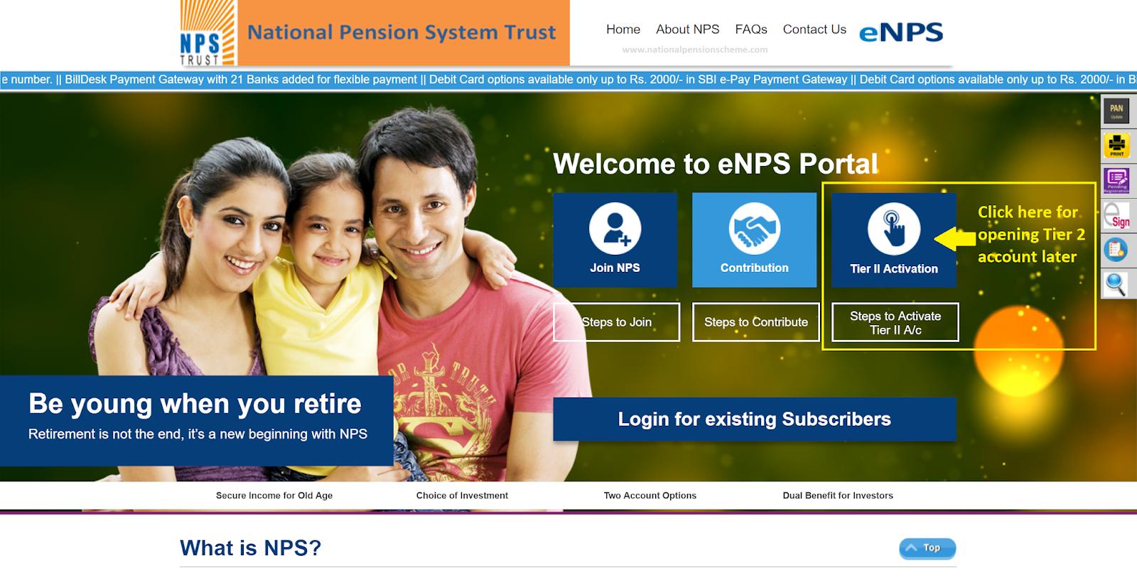Screenshot of Karvy eNPS portal for Tier 2 account activation
