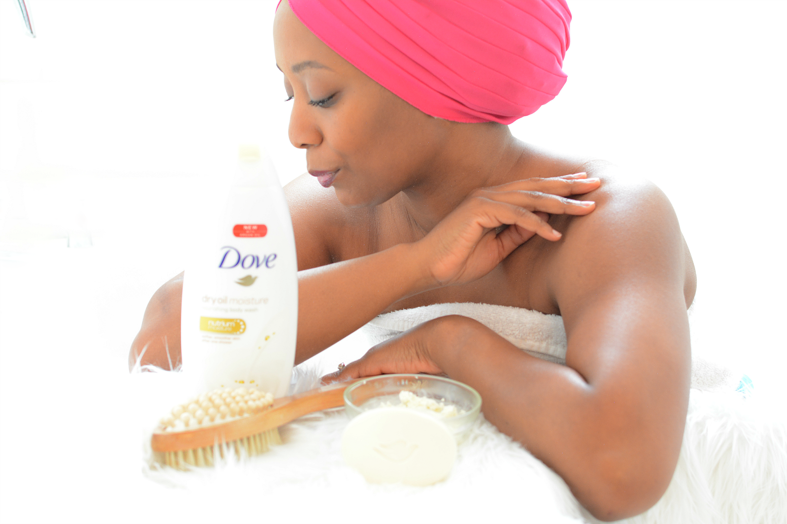 moisturize dry skin with shea, cocoa butter and a mix of oils