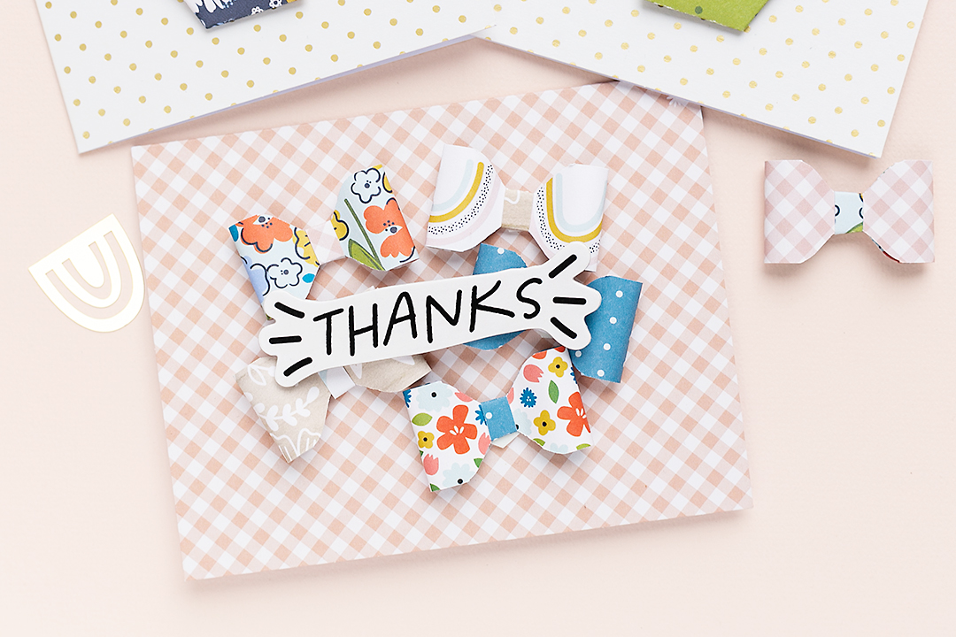 Card saying Thanks with cute paper bows made with the 123 Punch Board by WRMK