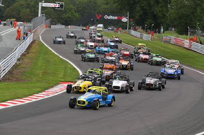 Daniel French starting the first Caterham 270R race of the weekend at Oulton Park Circuit