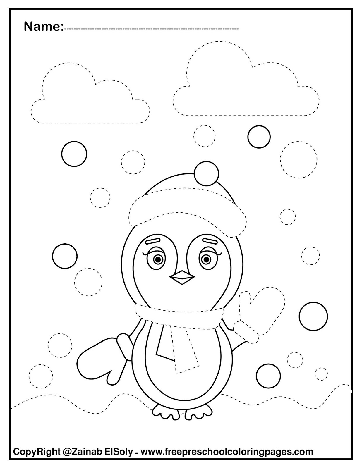 Set Of Penguins Trace And Color Free Pages