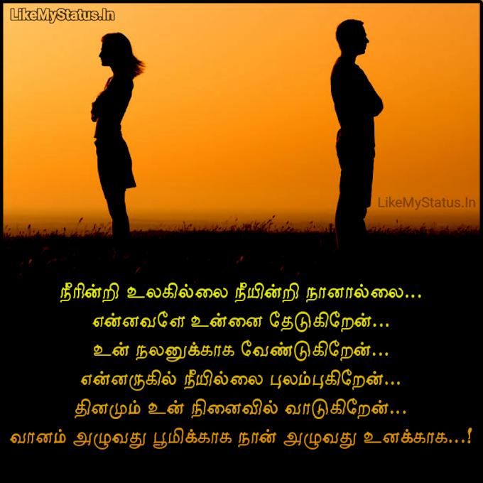 நீரின்றி உலகில்லை நீயின்றி நானால்லை... Tamil Kadhal Kavithai Image...