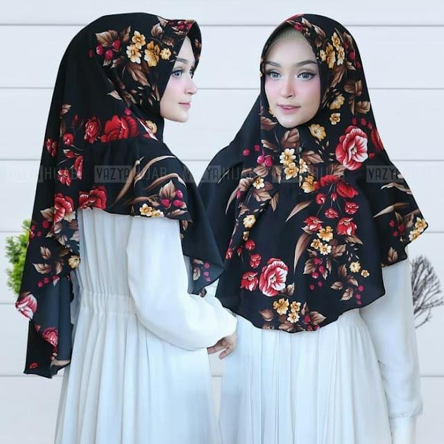 Jilbab Instan Syari Murah Motif Bunga Aghnia Timbul Murah