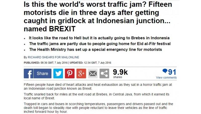 Daily Mail beritakan soal kemacetan parah di Brexit