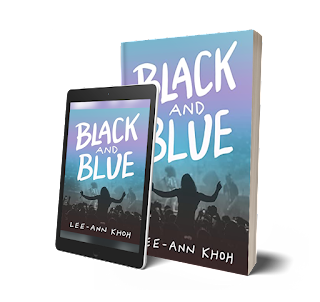 eBook and print book mockups of Black and Blue by Lee-Ann Khoh.