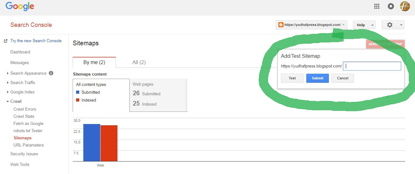 how to index your site to google via sitemap blogger blogspot example