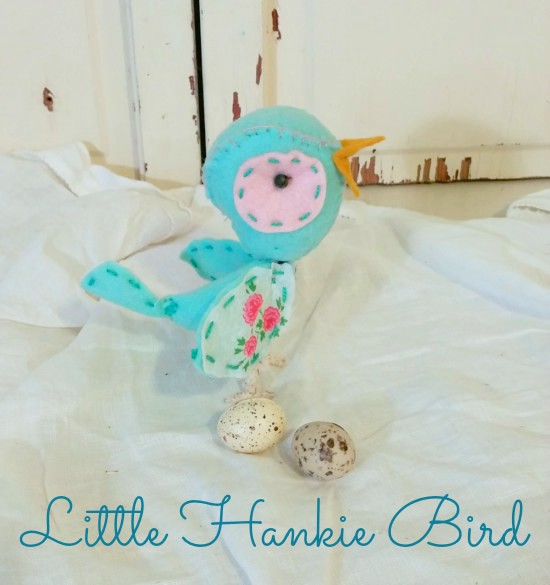 Little bird made with a vintage hankie