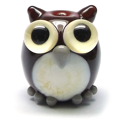 Lampwork glass owl bead