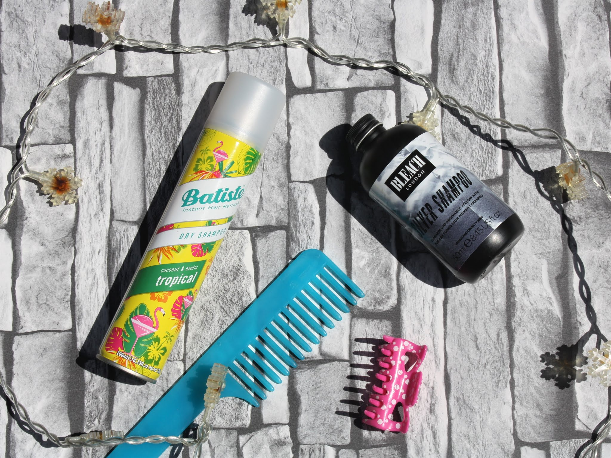 dry shampoo and hair products