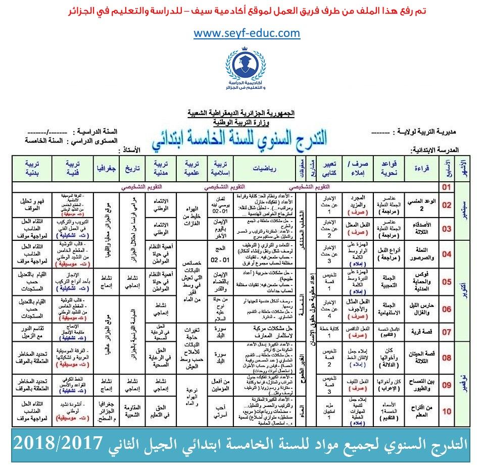 التدرج السنوي لجميع مواد للسنة الخامسة ابتدائي الجيل الثاني 2018/2017