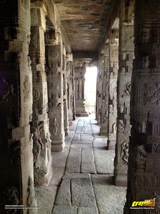 Ranga Mandapa or Dance Hall, with Intricately sculpted pillars inside the Veerabhadra Swamy Temple at Lepakshi, in Andhra Pradesh, India