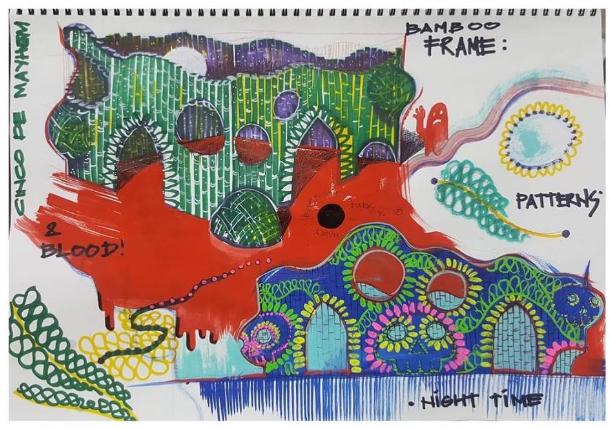 Leeroy New artist's sketch for Cinco De Mayhem Music Festival.