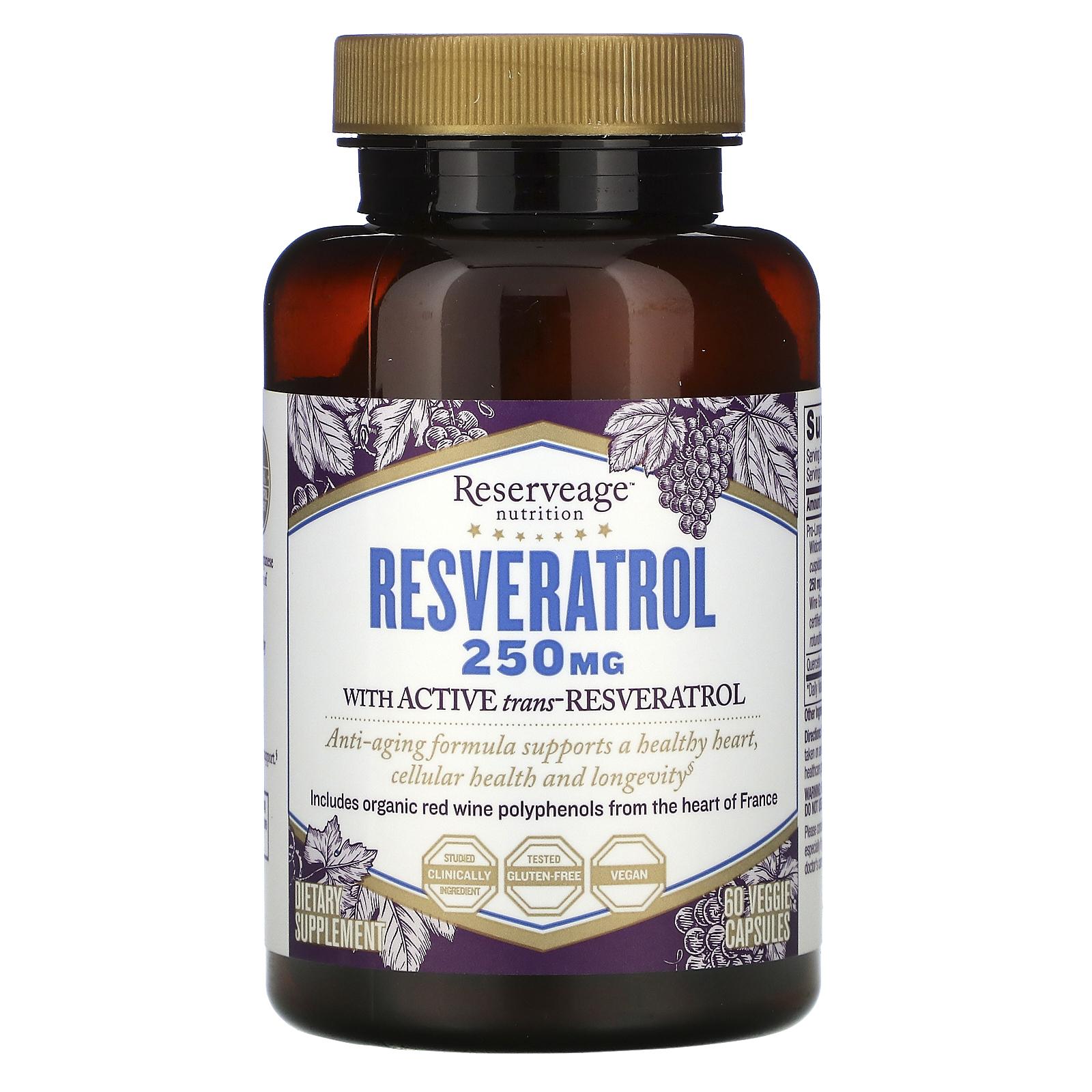 ReserveAge Nutrition, Resveratrol, действующая на клеточном уровне формула против старения, 250 мг, 60 растительных капсул