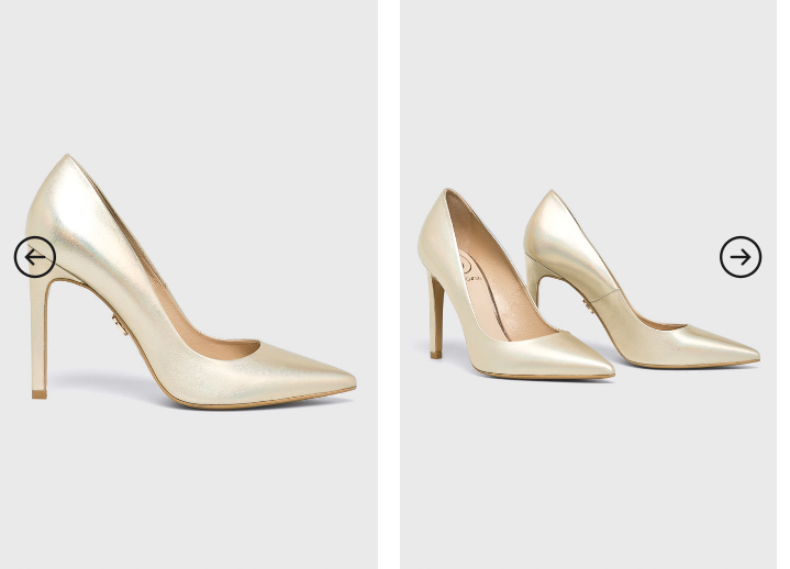 Pantofi cu toc aurii de firma piele naturala elegnati de ocazii
