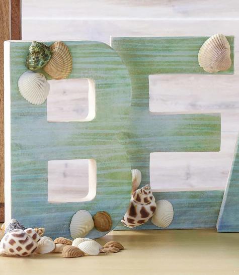 Large Decorative Craft Letters Beach Mod Podge Idea